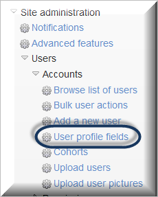 admin menu for profile fields