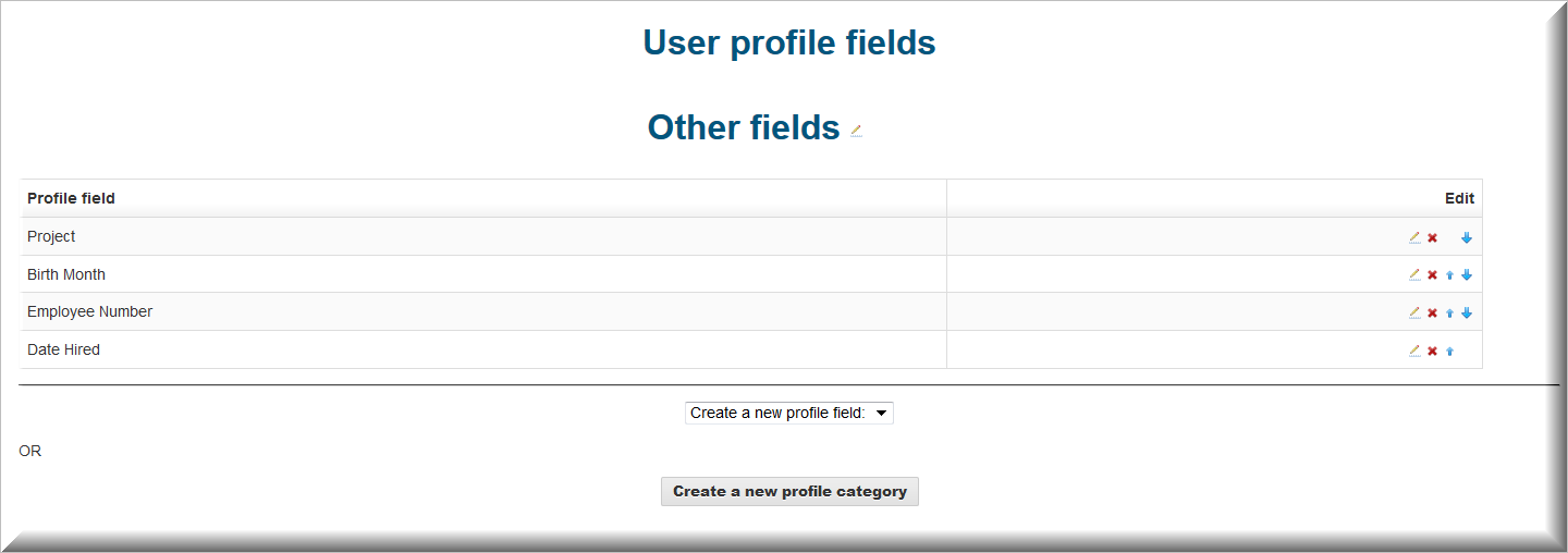 profile fields add edit screen
